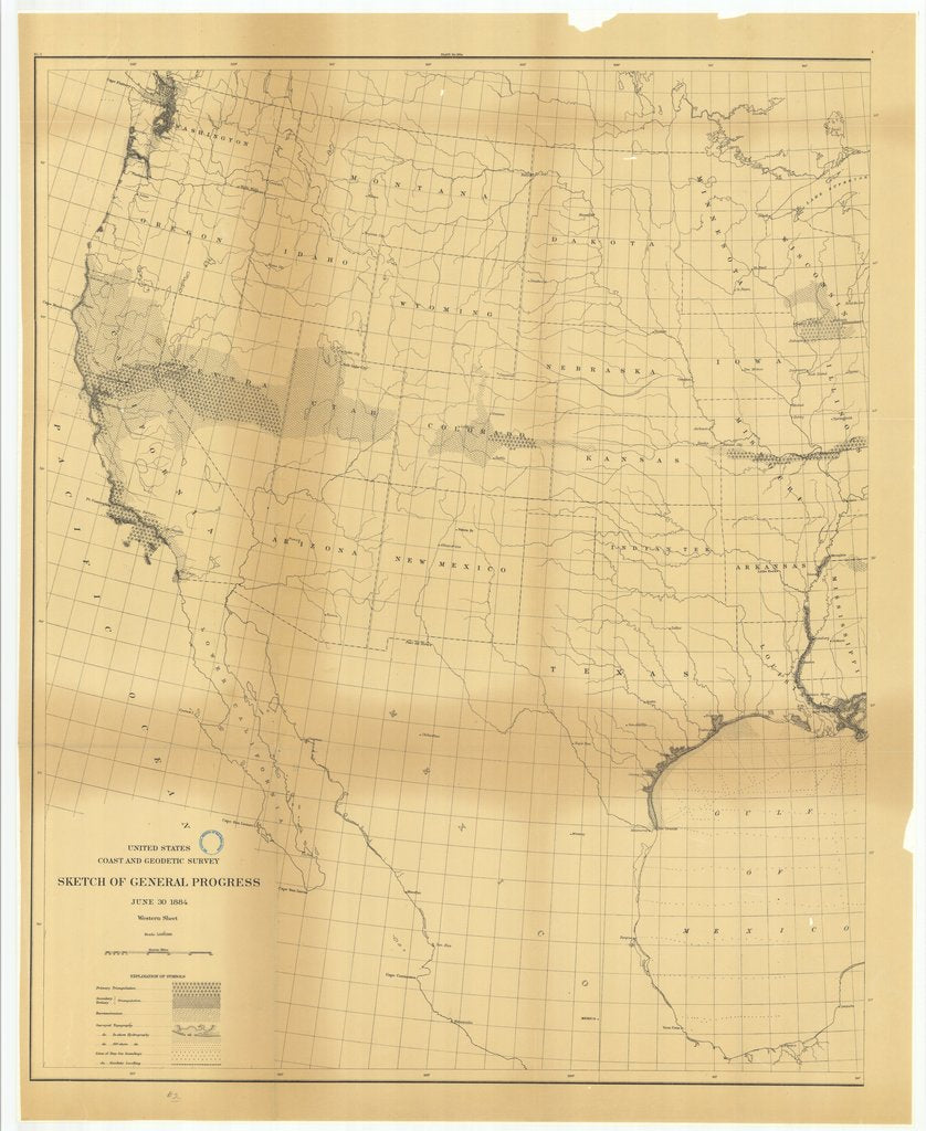 18 x 24 inch 1884 US old nautical map drawing chart of Sketch of General Progress, June 30, 1884, Western Sheet From  US Coast & Geodetic Survey x105