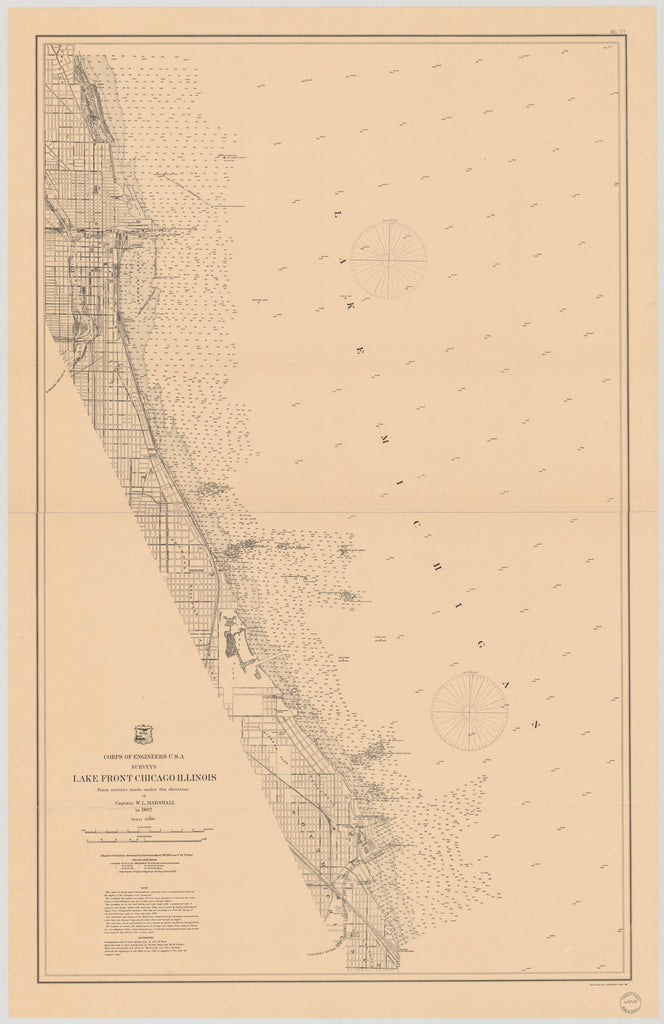 18 x 24 inch 1893 US old nautical map drawing chart of LAKE FRONT CHICAGO ILLINOIS From  Lake Survey x1795