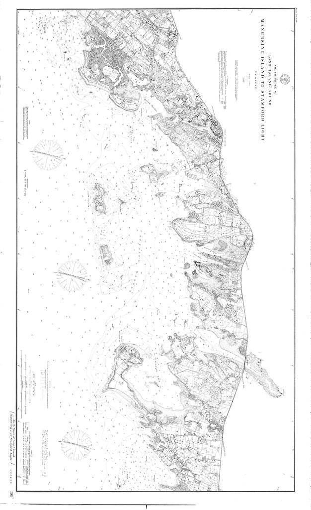 18 x 24 inch 1889 New York old nautical map drawing chart of North Shore of Long Island Sound Manursing I. to Stamford Lt From  US Coast & Geodetic Survey x6859