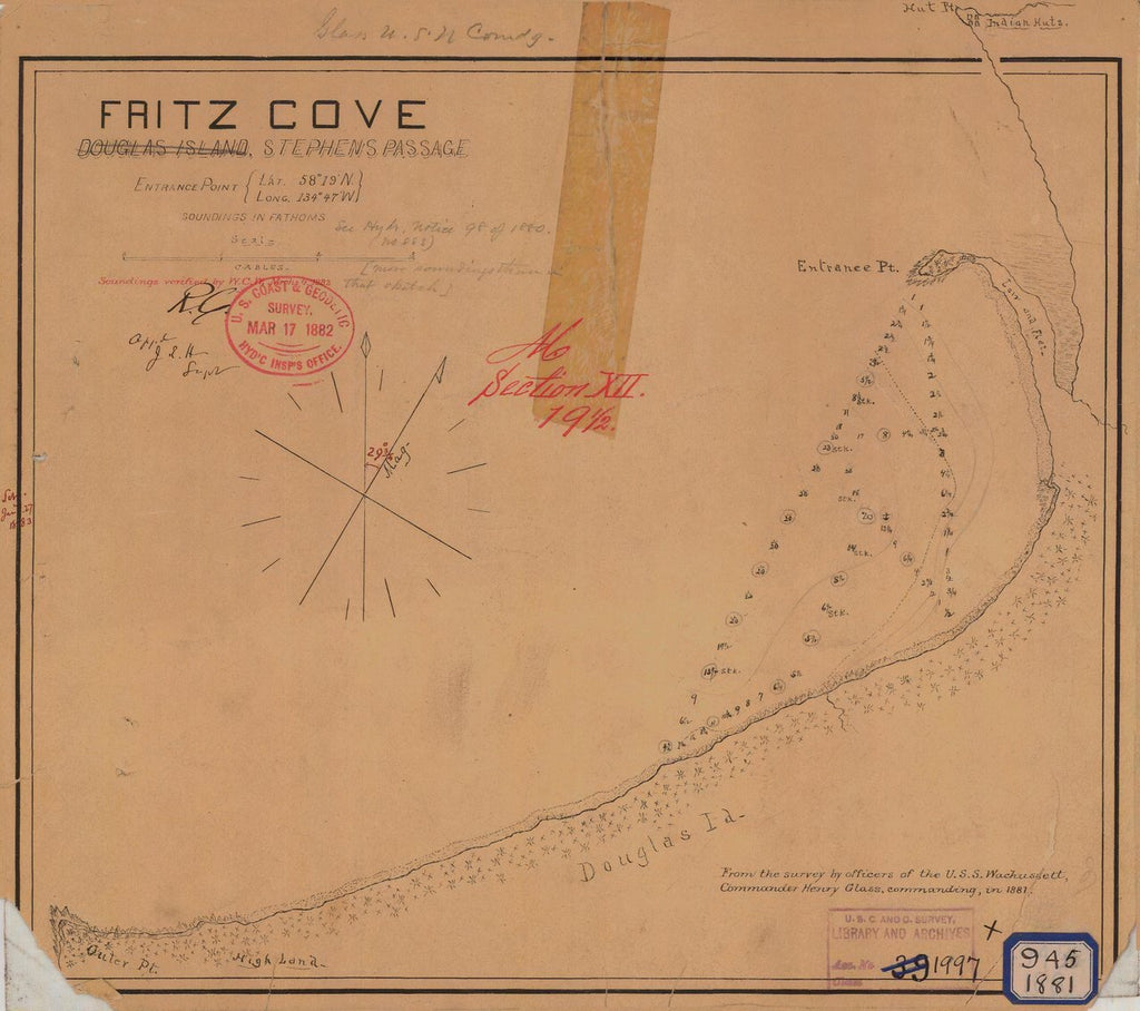18 x 24 inch 1881 US old nautical map drawing chart of FRITZ COVE From  NOAA x332