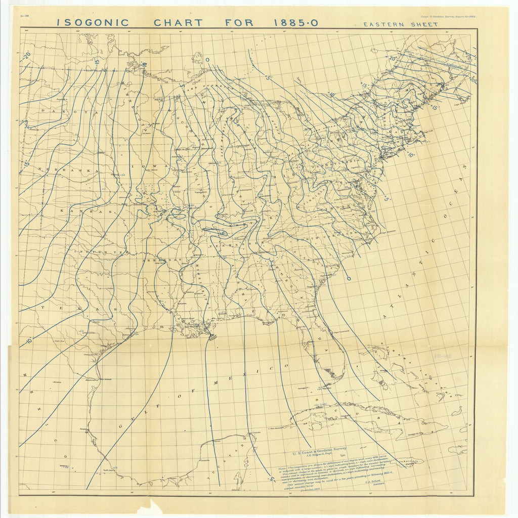 18 x 24 inch 1882 US old nautical map drawing chart of Isogonic Chart for 1885-0 Eastern Sheet From  US Coast & Geodetic Survey x2251