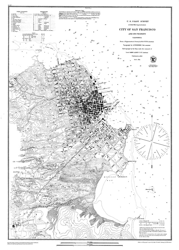 18 x 24 inch 1853 US old nautical map drawing chart of Navigation Chart of the City of San Francisco and its Vicinity From  U.S. Coast Survey x1280
