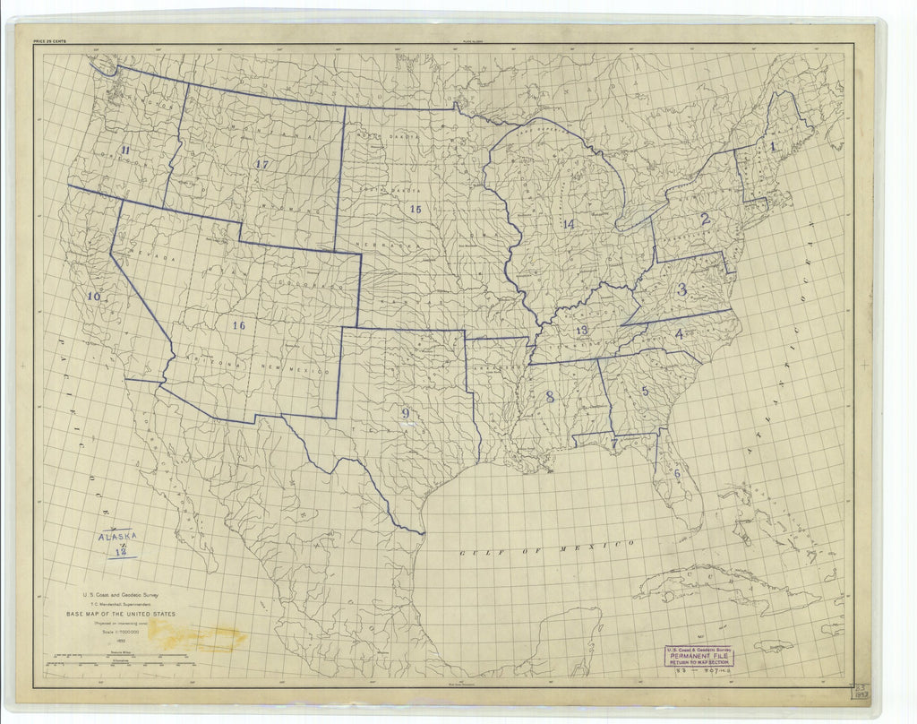 18 x 24 inch 1893 US old nautical map drawing chart of Base Map of the United States From  US Coast & Geodetic Survey x1453