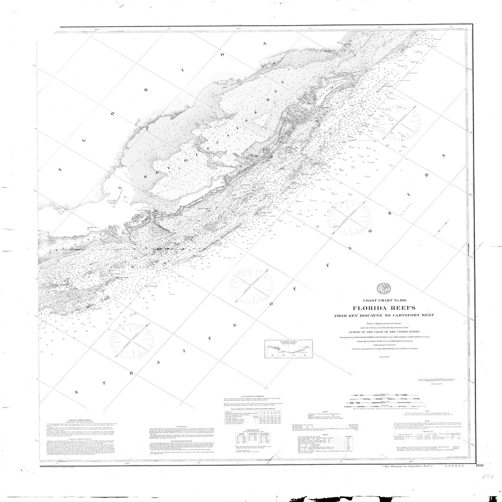 18 x 24 inch 1878 US old nautical map drawing chart of Key Biscayne to Carysfort Reef From  NOAA x2092
