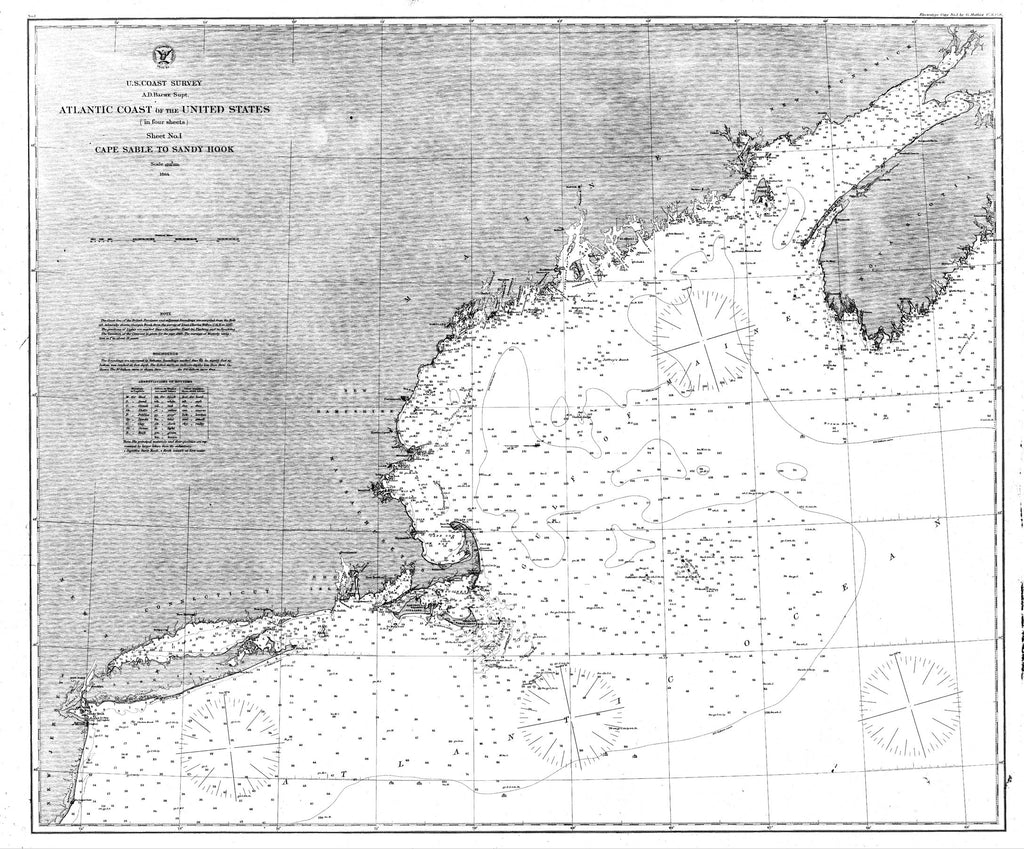 18 x 24 inch 1864 New Hampshire old nautical map drawing chart of Nautical Chart of the Atlantic Coast of the United States From  U.S. Coast Survey x7591