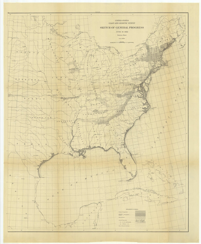 18 x 24 inch 1882 US old nautical map drawing chart of Sketch of General Progress, June 30, 1882, Eastern Sheet From  US Coast & Geodetic Survey x1240