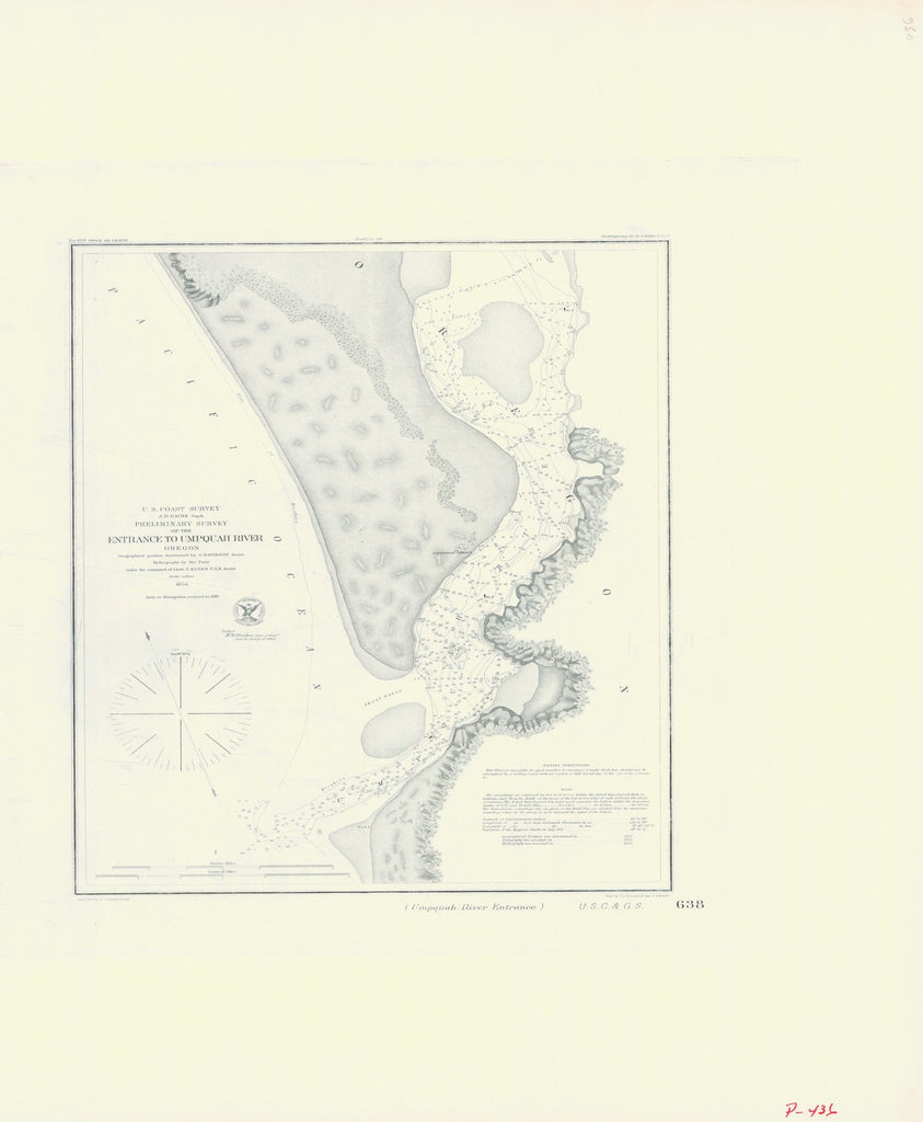 18 x 24 inch 1854 Oregon old nautical map drawing chart of UMPQUAH RIVER ENTRANCE From  NOAA x7829