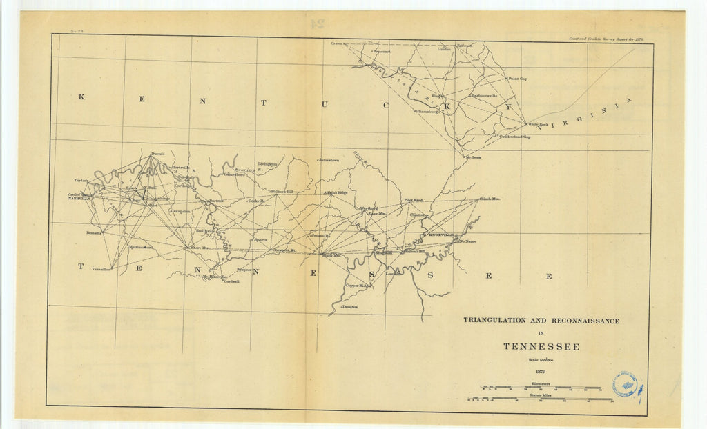 18 x 24 inch 1879 Ohio old nautical map drawing chart of Triangulation and Reconnaissance in Tennessee From  U.S. Coast Survey x6748
