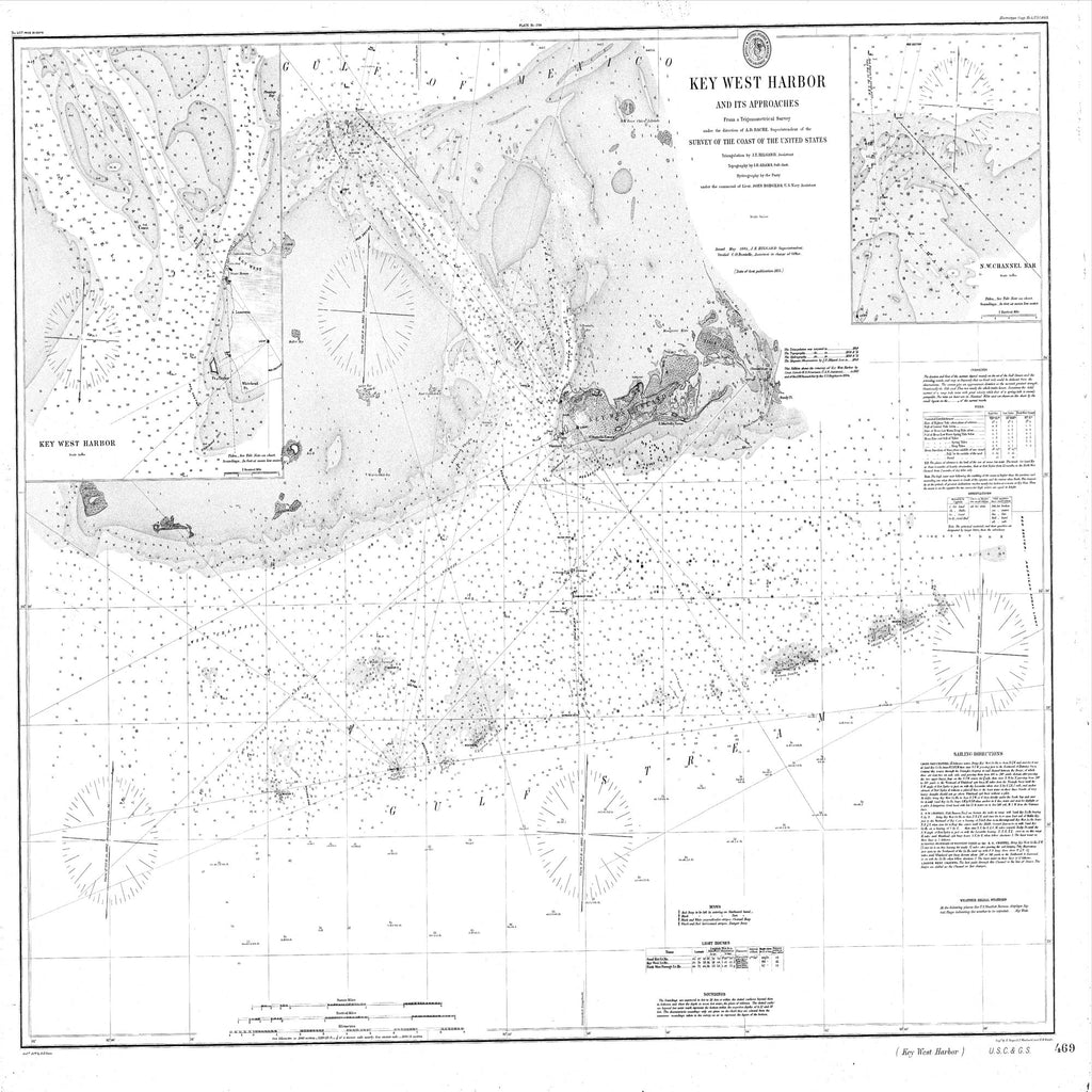 18 x 24 inch 1884 US old nautical map drawing chart of Navigation Chart for Key West Harbor and Approaches From  C&GS x1763