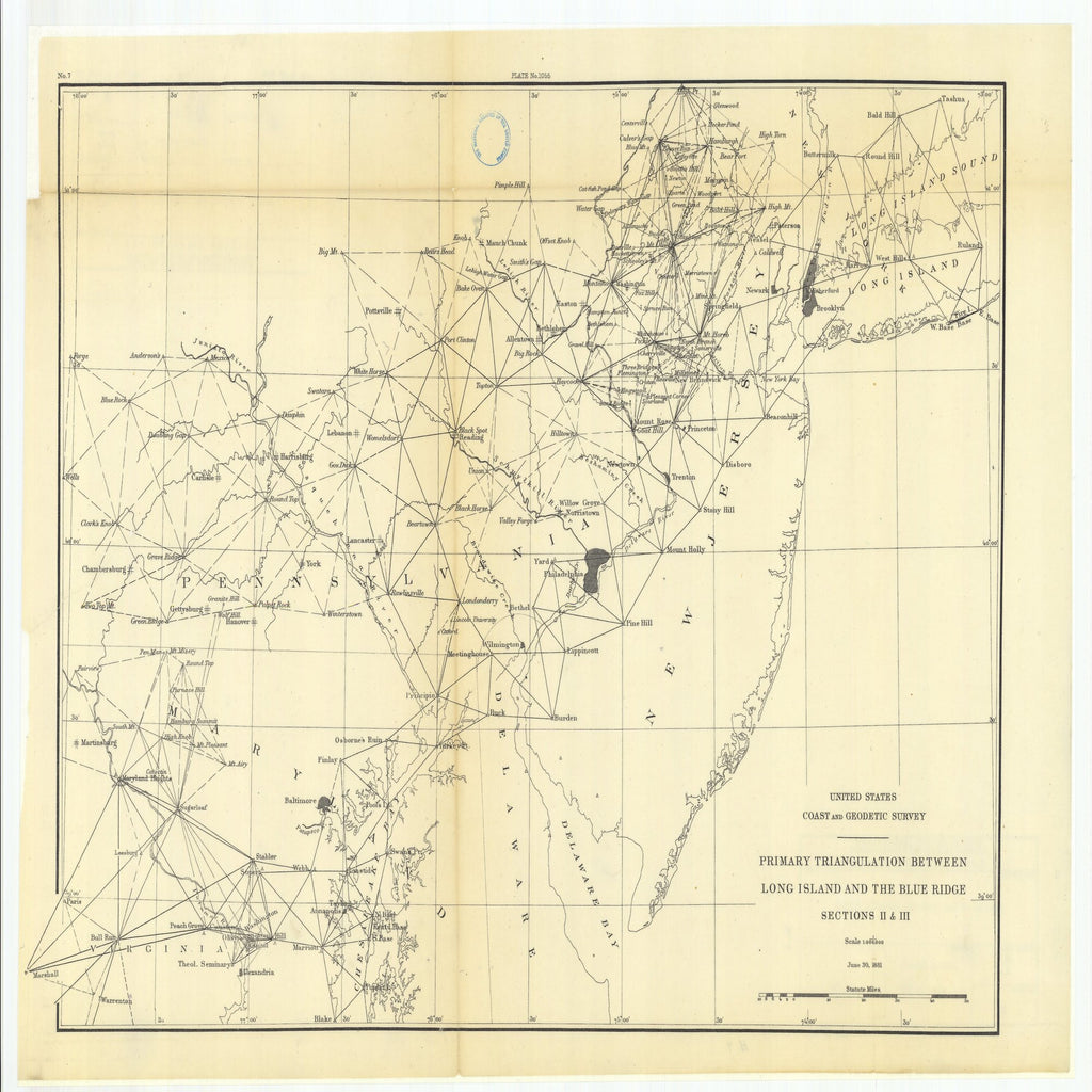 18 x 24 inch 1881 US old nautical map drawing chart of Primary Triangulation Between Long Island and the Blue Ridge Sections 2 and 3 From  US Coast & Geodetic Survey x1955