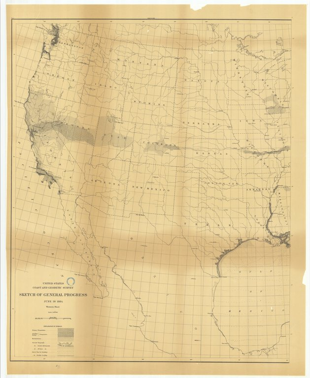 18 x 24 inch 1884 US old nautical map drawing chart of Sketch of General Progress, June 30, 1884, Western Sheet From  US Coast & Geodetic Survey x154