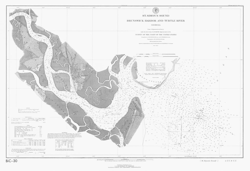 18 x 24 inch 1888 US old nautical map drawing chart of ST SIMONS SOUND From  US Coast & Geodetic Survey x572