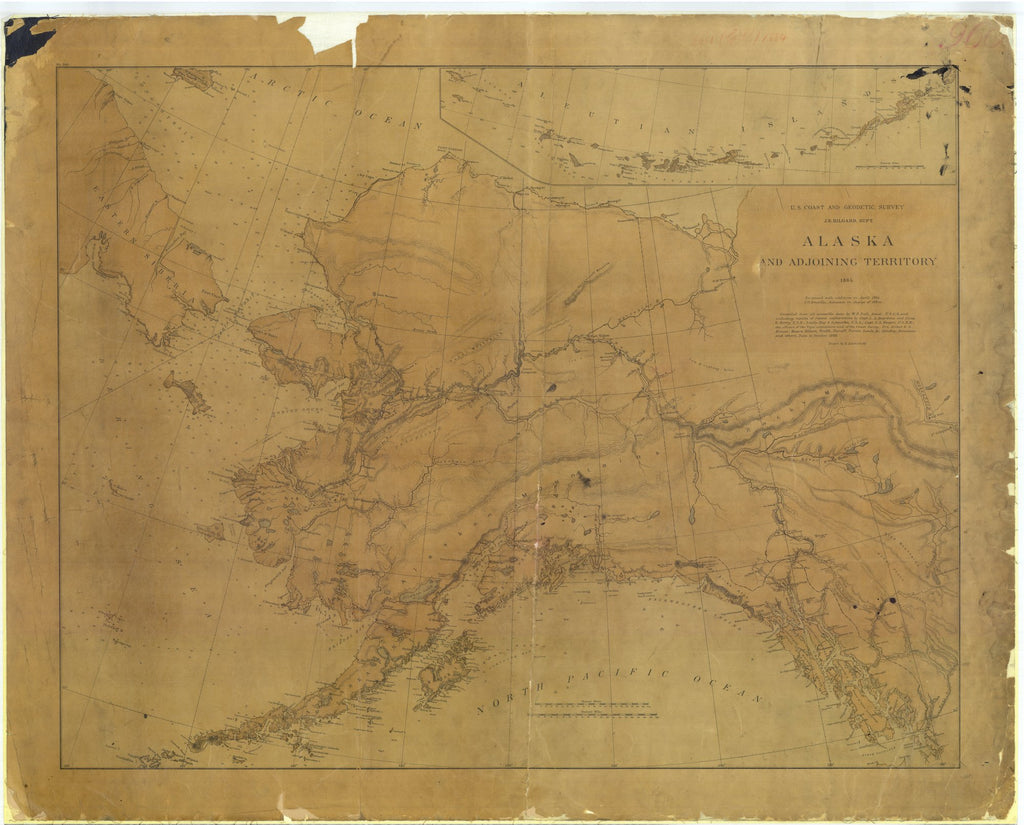 18 x 24 inch 1826 US old nautical map drawing chart of Alaska and Adjoining Territory From  US Coast & Geodetic Survey x4725