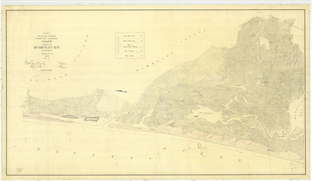 18 x 24 inch 1870 US old nautical map drawing chart of North of Humboldt Bay From  U.S. Coast Survey x1713