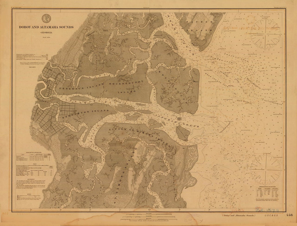 18 x 24 inch 1879 US old nautical map drawing chart of Doboy and Altamaha Sounds From  US Coast & Geodetic Survey x569