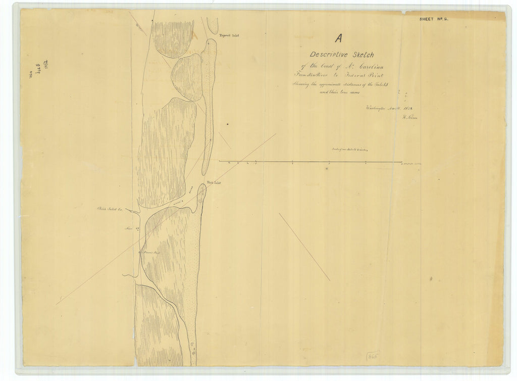18 x 24 inch 1852 US old nautical map drawing chart of A Descriptive Sketch of the Coast of North Carolina from New River to Federal Point From  NOAA x5922