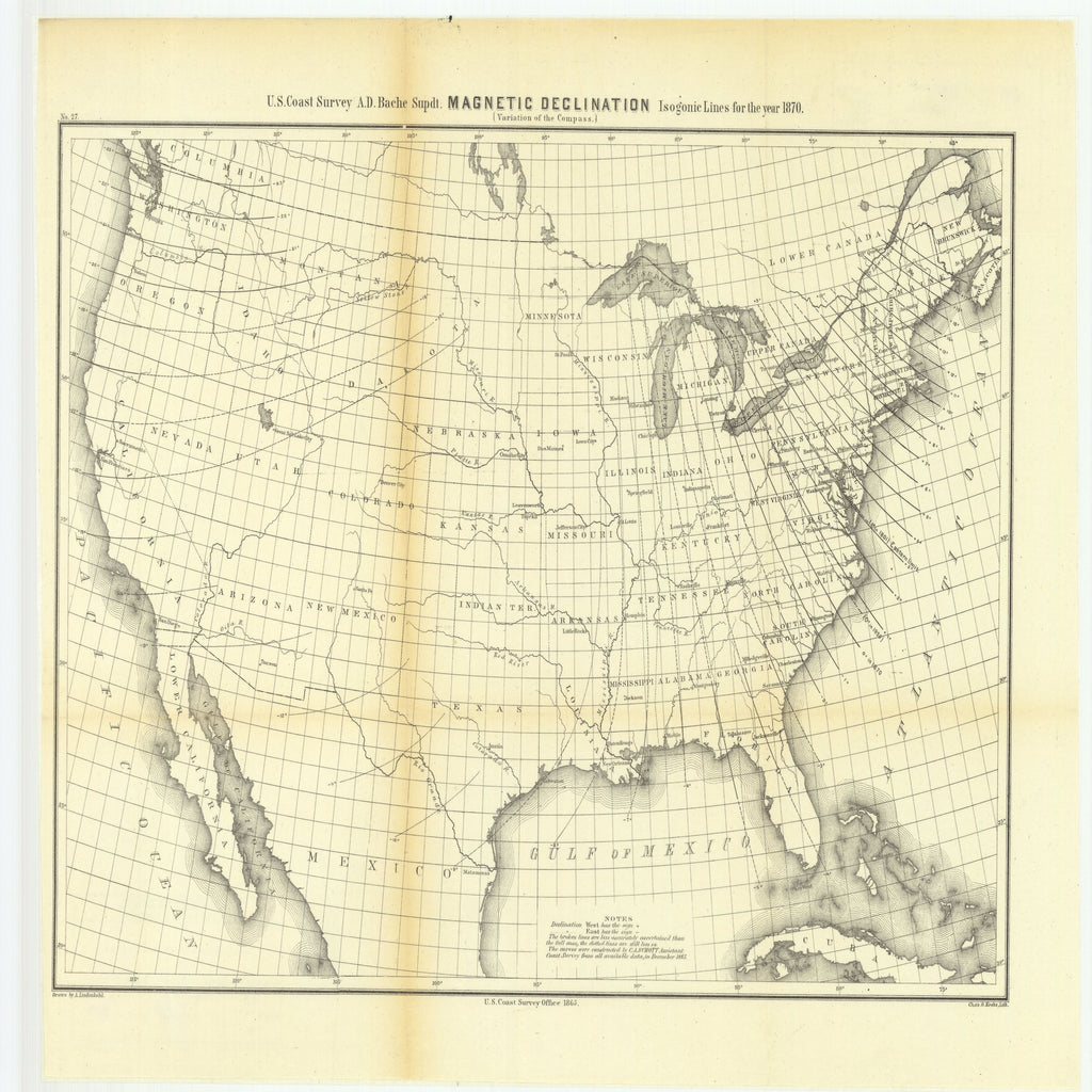 1870 Map Of Texas.1870 Texas Magnetic Declination Variation Of The Compass Isogonic