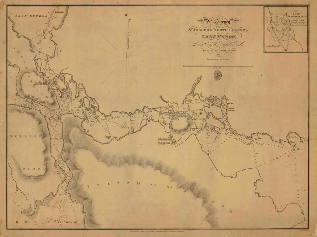 18 x 24 inch 1822 US old nautical map drawing chart of A SURVEY OF ST. JOSEPHS NORTH CHANNEL LAKE HURON From  Hydrographical Office x4118