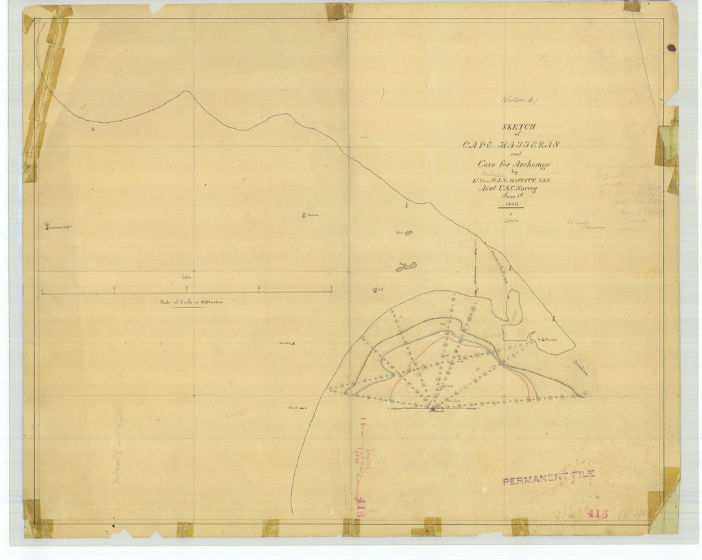 18 x 24 inch 1849 US old nautical map drawing chart of Sketch of Cape Hatteras and Cover for Anchorage From  U.S. Coast Survey x5019