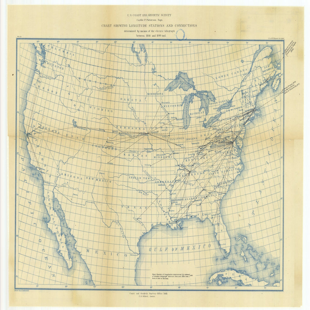 18 x 24 inch 1880 North Dakota old nautical map drawing chart of Chart Showing Longitude Stations and Connections Determined by Means of the Electric Telegraph Between 1846 and 1880 From  US Coast & Geodetic Survey x6621