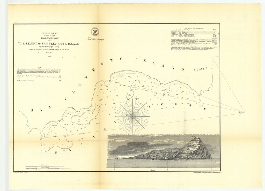 18 x 24 inch 1856 US old nautical map drawing chart of Reconnaissance of the Southeast End of San Clemente Island From  U.S. Coast Survey x4262