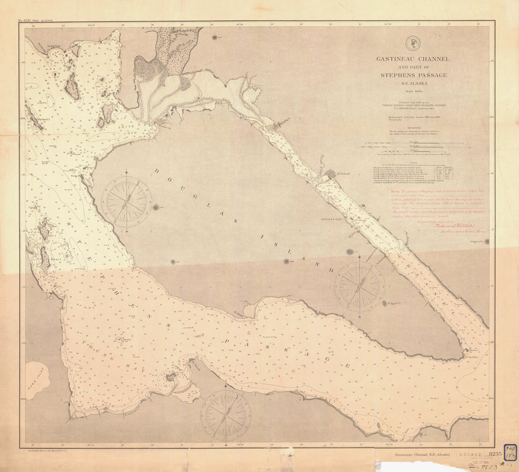 18 x 24 inch 1893 US old nautical map drawing chart of GASTINEAU CHANNEL From  US Coast & Geodetic Survey x899