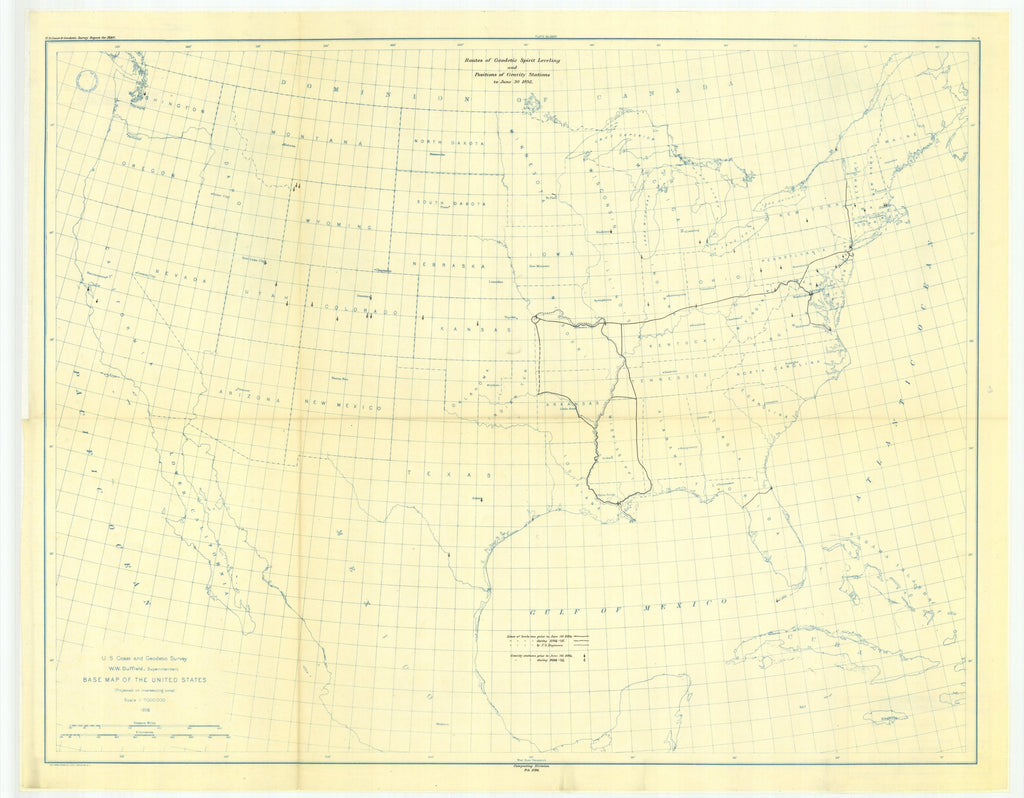 18 x 24 inch 1895 USA old nautical map drawing chart of 7. Map showing lines of geodetic leveling run, and positions of gravity stations to June 30, 1895. From  US Coast & Geodetic Survey x12092