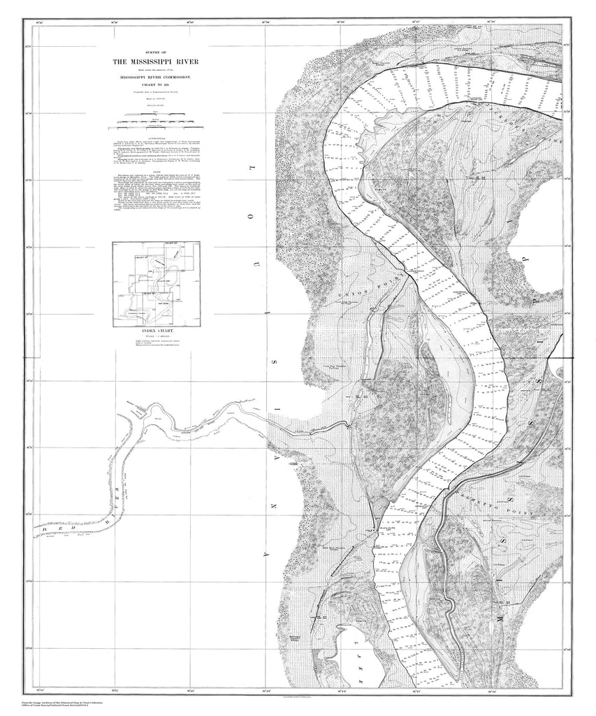 18 x 24 inch 1879 US old nautical map drawing chart of Survey of the Mississippi River From  Mississippi River Commission x2360
