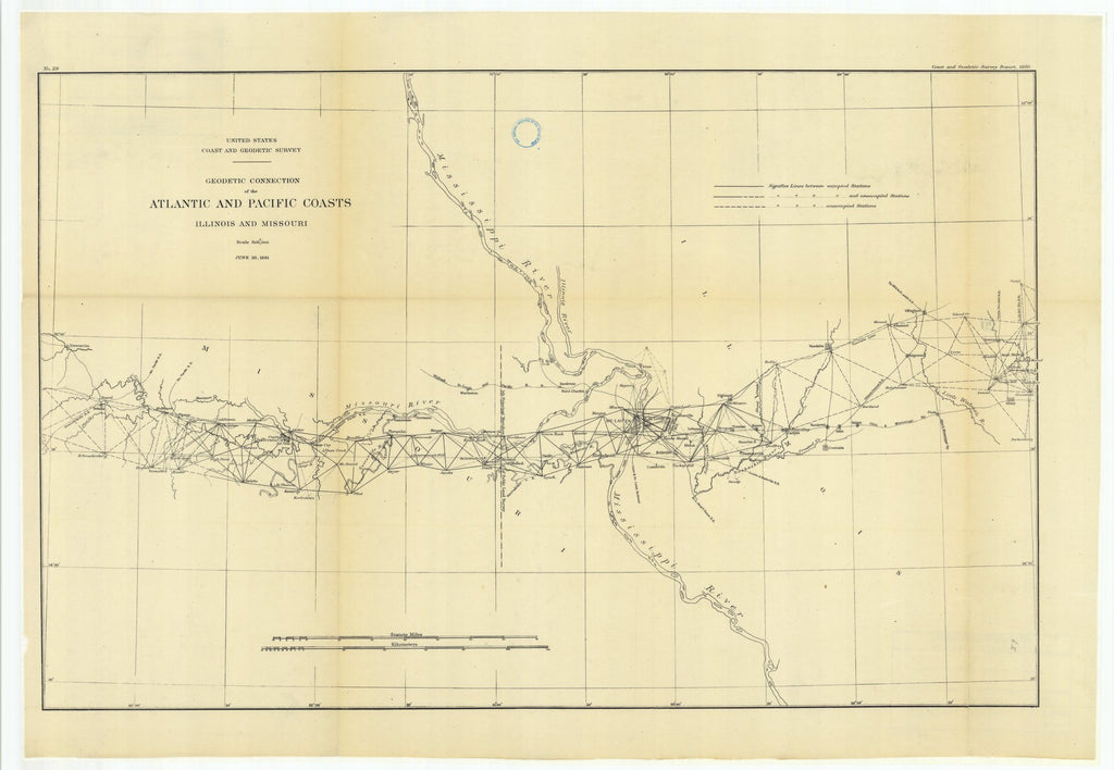 18 x 24 inch 1881 US old nautical map drawing chart of Geodetic Connection of the Atlantic and Pacific Coasts, Illinois and Missouri From  US Coast & Geodetic Survey x1558