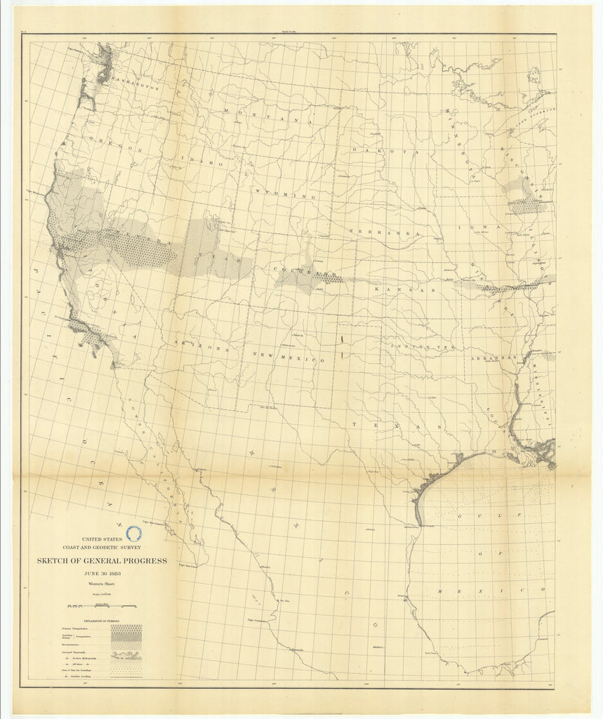 18 x 24 inch 1883 US old nautical map drawing chart of Sketch of General Progress, June 30, 1883, Western Sheet From  US Coast & Geodetic Survey x1854