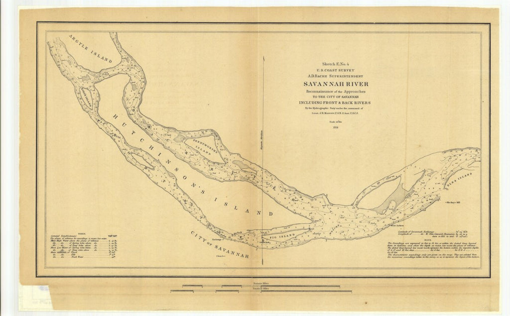 18 x 24 inch 1851 US old nautical map drawing chart of Savannah River Reconnaissance of the Approaches to the City of Savannah Including Front and Back Rivers From  U.S. Coast Survey x297