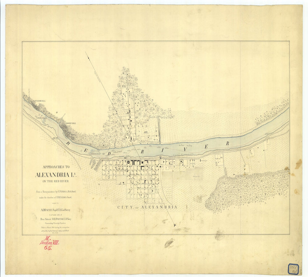 18 x 24 inch 1864 US old nautical map drawing chart of Approaches to Alexandria Louisiana on the Red River From  U.S. Coast Survey x2000