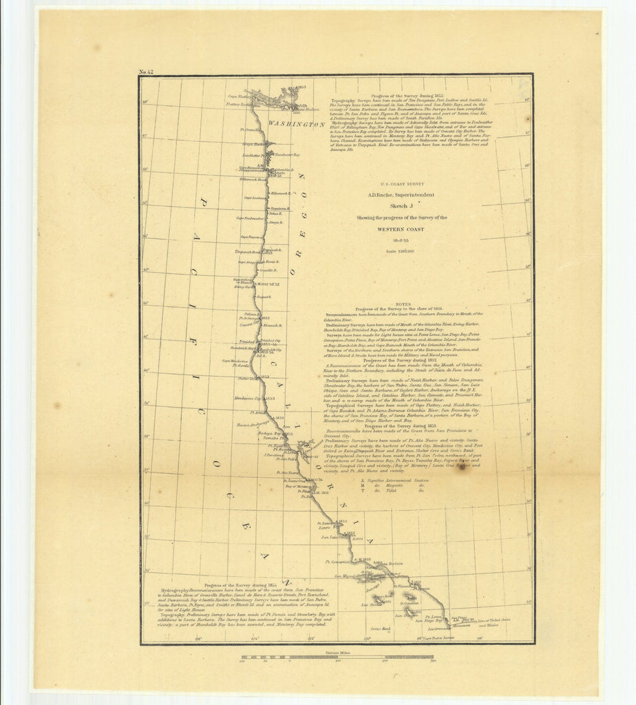 18 x 24 inch 1855 Washington old nautical map drawing chart of Sketch J Showing the Progress of the Survey of the Western Coast, 1849 to 1855 From  U.S. Coast Survey x11756