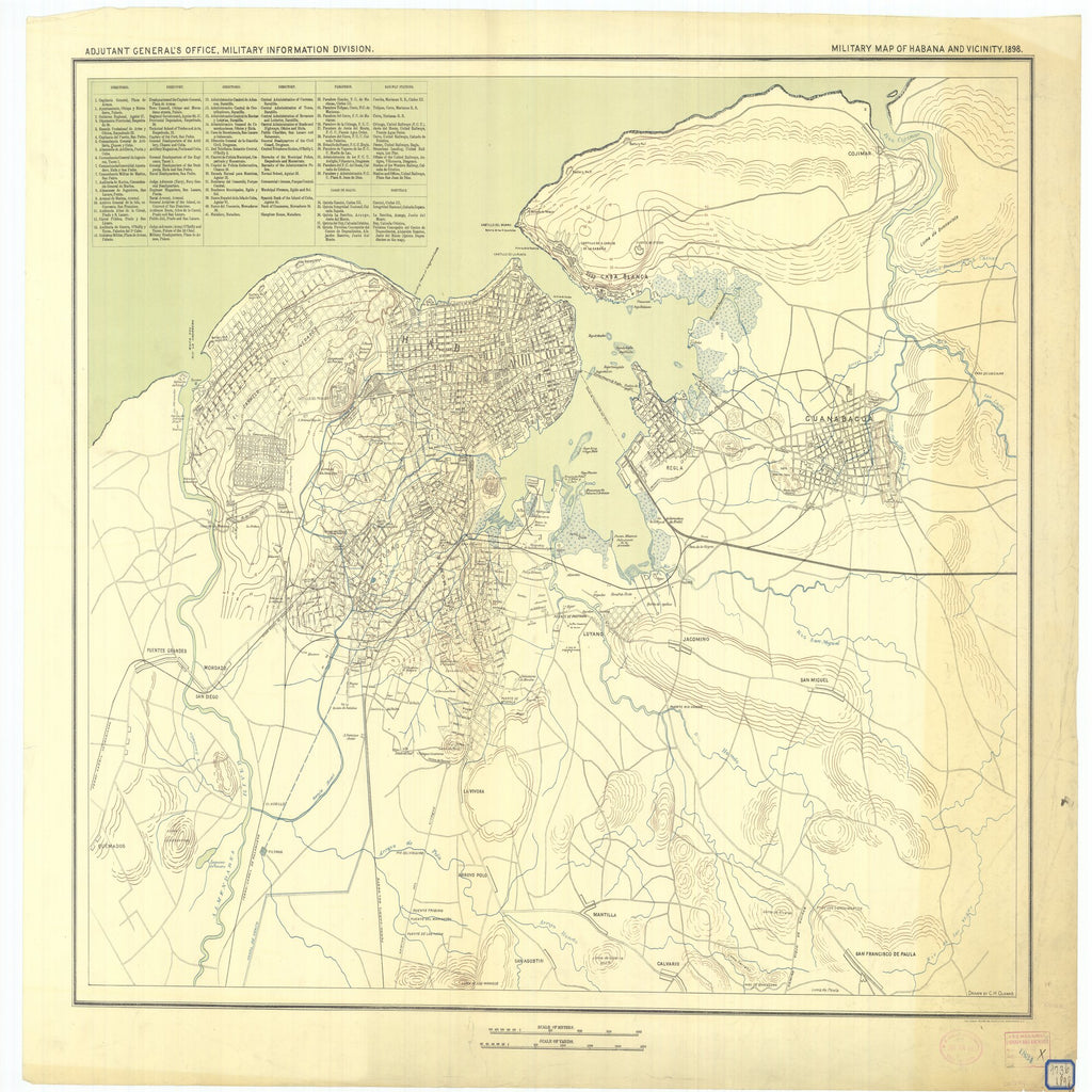 18 x 24 inch 1898 OTHER old nautical map drawing chart of Military Map of Habana and Vicinity From  Military Information Division x7288