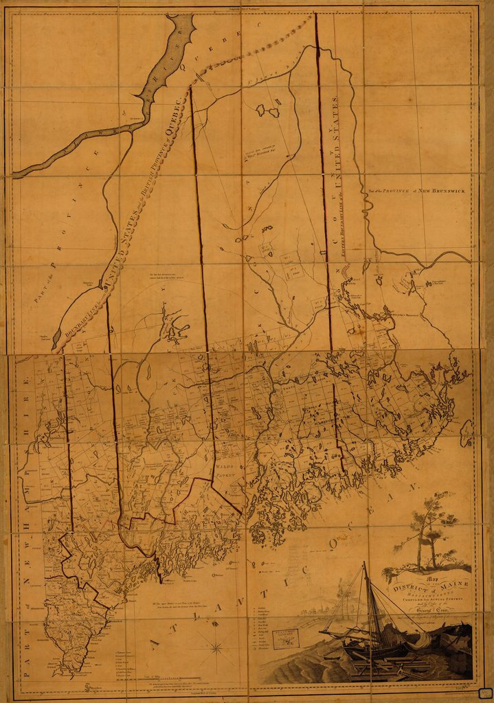 18 x 24 inch 1802 US old nautical map drawing chart of DISTRICT OF MAINE From  B & J Loring x5321