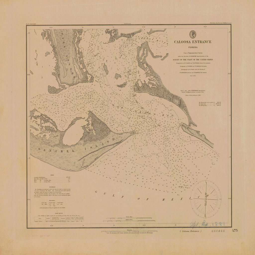18 x 24 inch 1881 US old nautical map drawing chart of CALOOSA ENTRANCE From  C&GS x1726