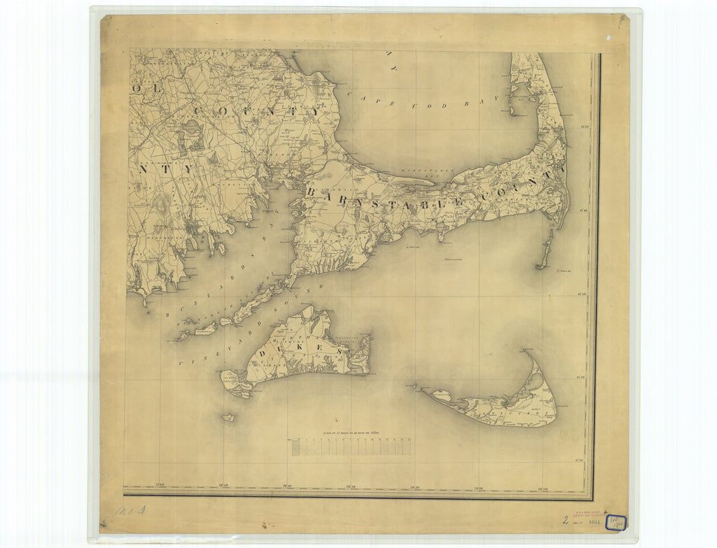 18 x 24 inch 1844 US old nautical map drawing chart of Topographical Map of Massachesetts Compiled from Astronomical Trigonometrical and Various Local Surveys From  C. Hickling x3912