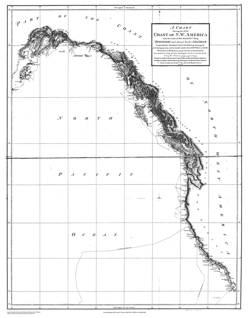 18 x 24 inch 1791 Alaska old nautical map drawing chart of Chart Shewing part of the Coast of N.W. America - by George Vancouver From  J. Edwards, Pall Mall & G. Robinson x12181