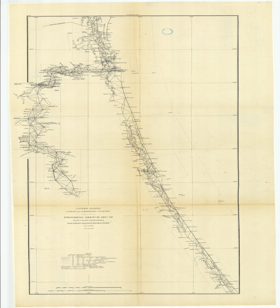 18 x 24 inch 1881 US old nautical map drawing chart of Progress Sketch, Section 6, East Coast of Florida from Amelia Island to Halifax River From  US Coast & Geodetic Survey x2554