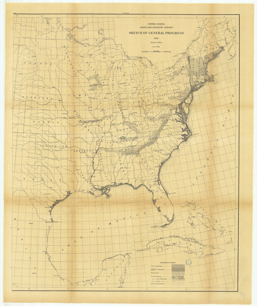 18 x 24 inch 1878 US old nautical map drawing chart of Sketch of General Progress, Eastern Sheet From  US Coast & Geodetic Survey x1037