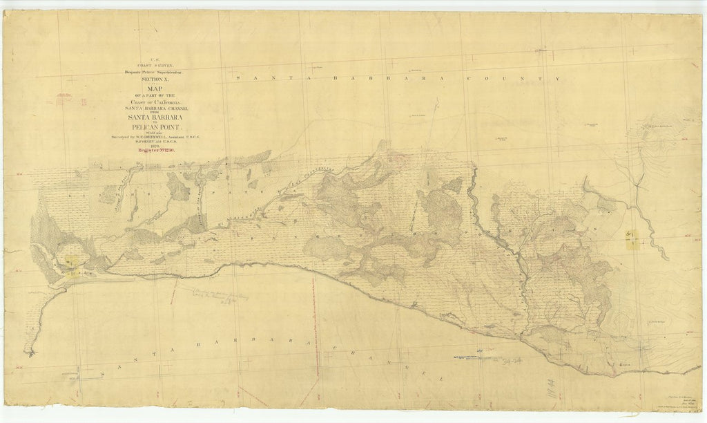 18 x 24 inch 1870 US old nautical map drawing chart of Santa Barbara Channel from Santa Barbara to Pelican Point From  U.S. Coast Survey x433