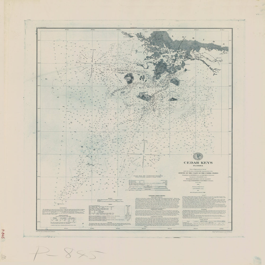 18 x 24 inch 1861 US old nautical map drawing chart of CEDAR KEYS From  US Coast & Geodetic Survey x1752