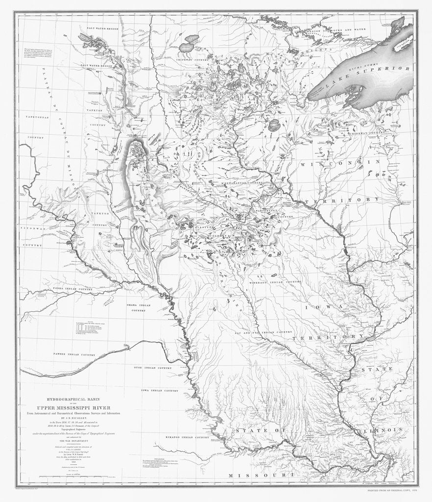 18 x 24 inch 1843 US old nautical map drawing chart of HYDROGRAPHICAL BASIN OF THE UPPER MISSISSIPPI RIVER From  NOAA x1572