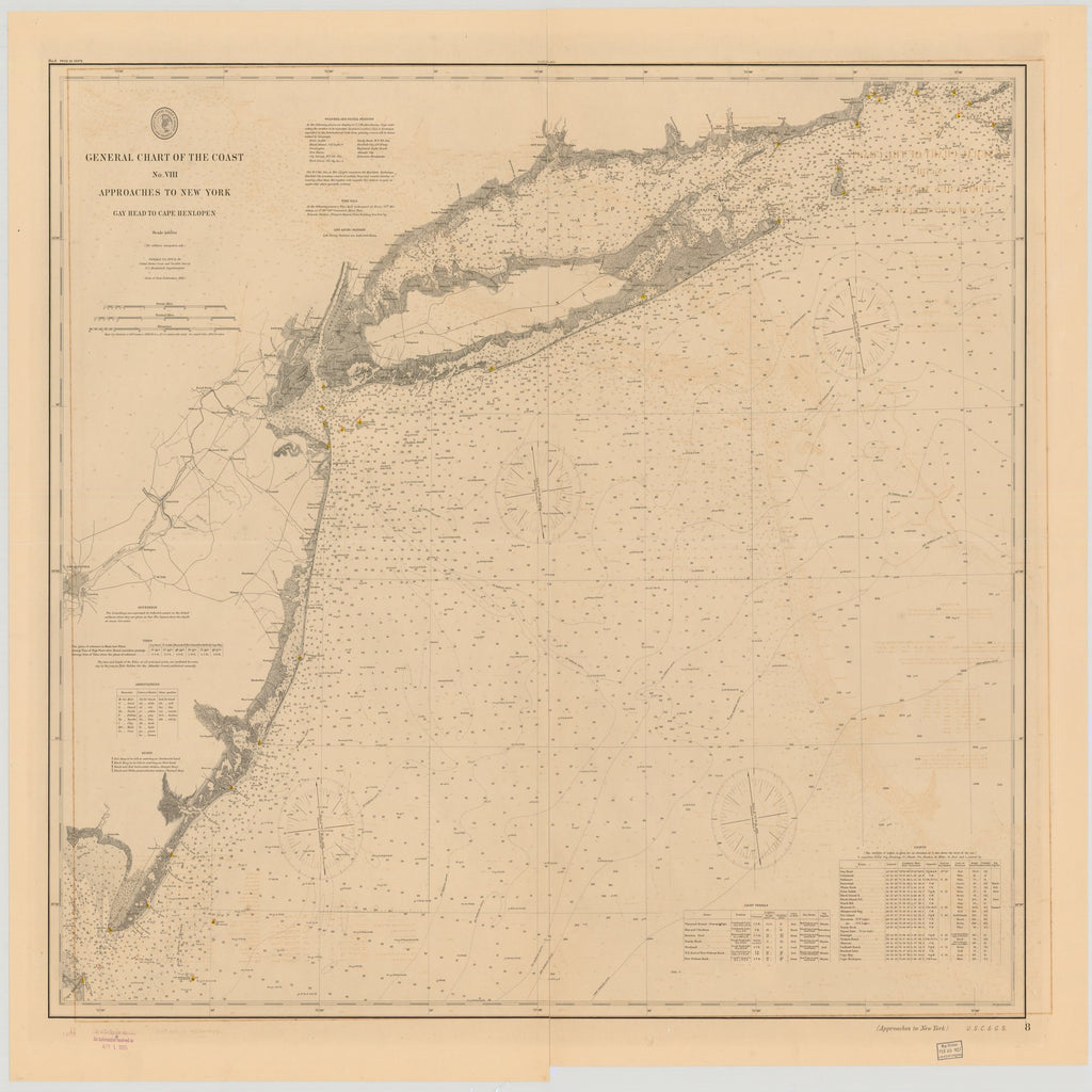 18 x 24 inch 1895 New Jersey old nautical map drawing chart of GENERAL CHART OF THE COAST NO.VIII, APPROACHES TO NEW YORK, GAY HEAD TO CAPE HENLOPEN From  US Coast & Geodetic Survey x7418