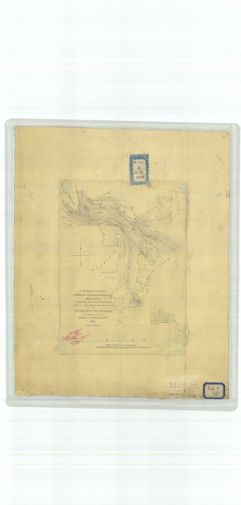 18 x 24 inch 1851 South Carolina old nautical map drawing chart of Exhibiting the Normal Course and Velocity of the Tidal Current at Flood Second Quarter in Charleston Harbor From  U.S. Coast Survey x9015