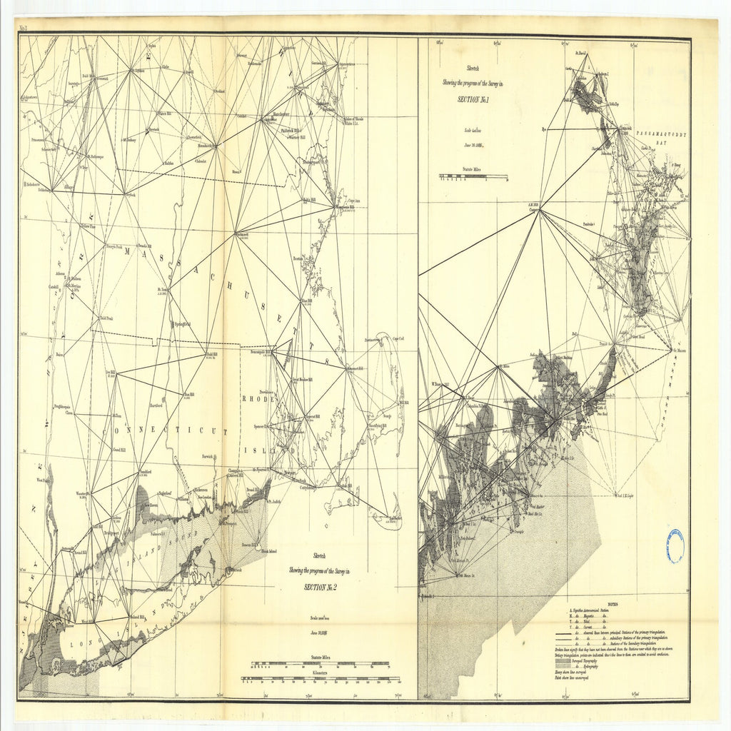 18 x 24 inch 1886 New Jersey old nautical map drawing chart of 3. Parts of Sections I and II. Progress in the New England States -and in the resurvey From  US Coast & Geodetic Survey x7447