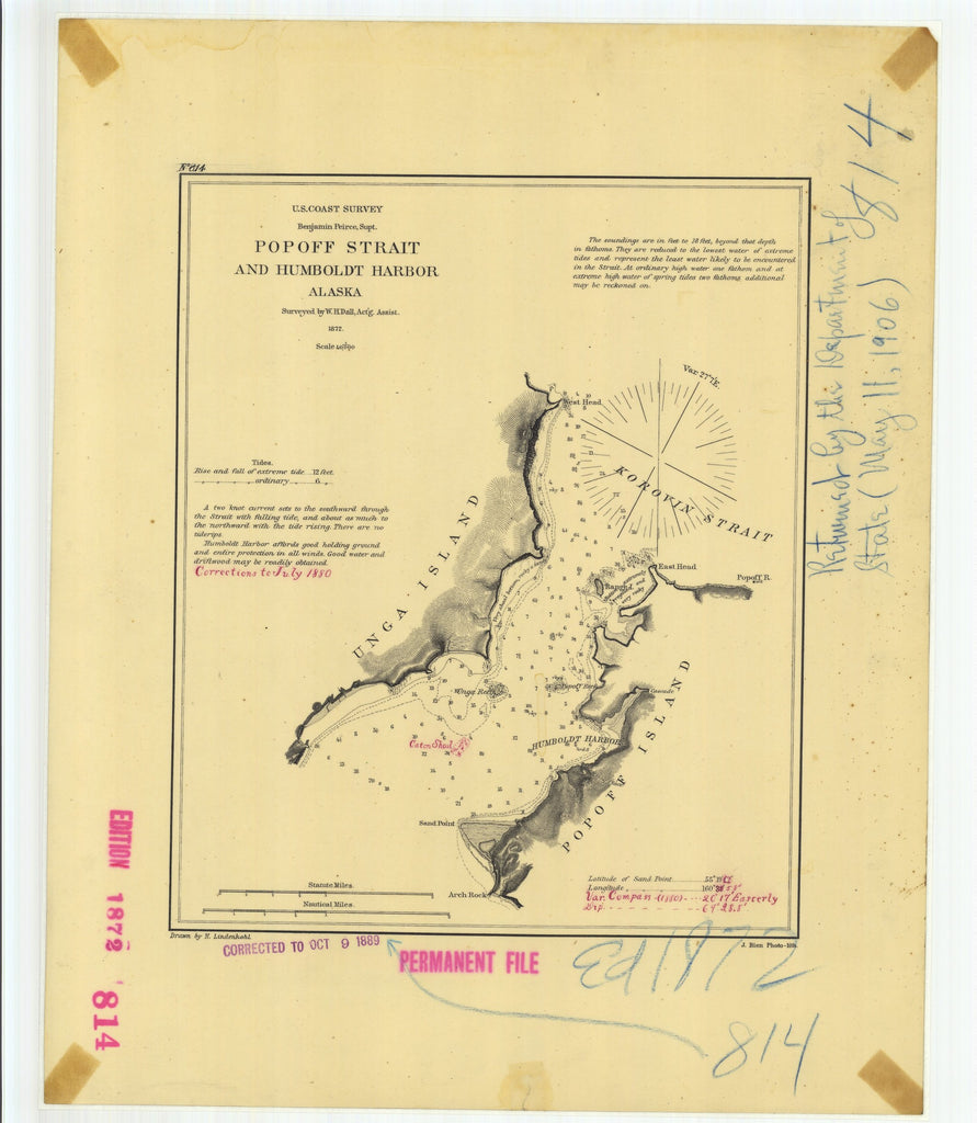 18 x 24 inch 1889 US old nautical map drawing chart of Popoff Strait and Humboldt Harbor Alaska From  US Coast & Geodetic Survey x896