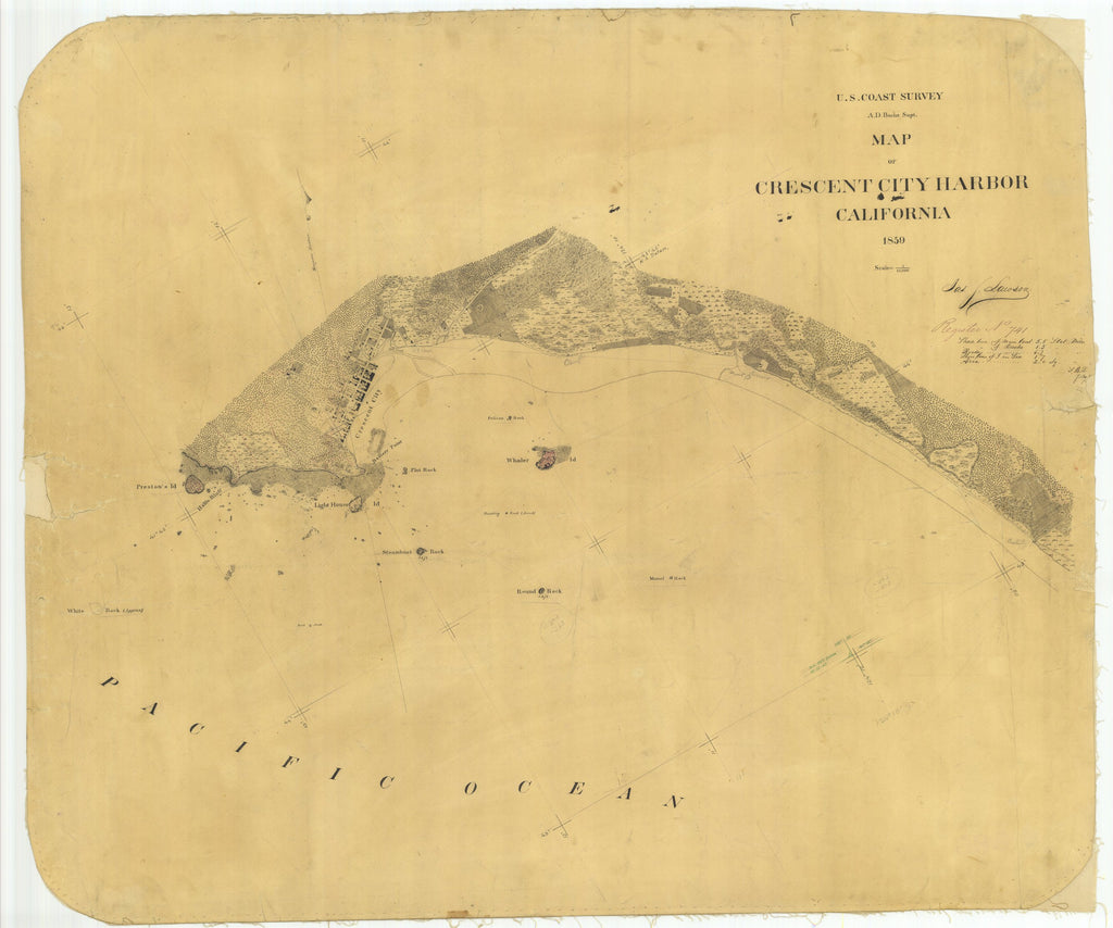 18 x 24 inch 1859 US old nautical map drawing chart of Map of Crescent City Harbor From  U.S. Coast Survey x1679