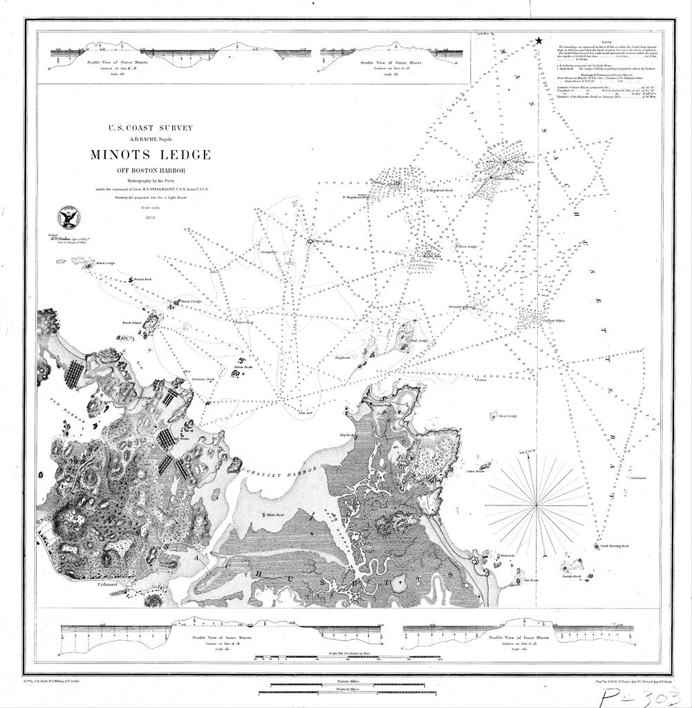18 x 24 inch 1853 US old nautical map drawing chart of Navigation Chart of Minots Ledge From  U.S. Coast Survey x1896