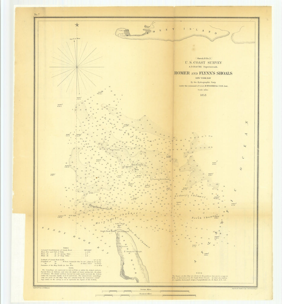 18 x 24 inch 1853 New York old nautical map drawing chart of Romer and Flynn's Shoals, New York Bay From  U.S. Coast Survey x6964